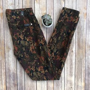 7 For All Mankind Floral Skinny Jeans Size 28